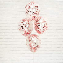 Merry Christmas Red & White Confetti Balloons (8)